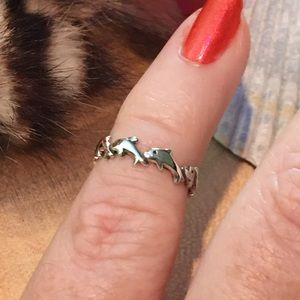 Dolphin band sterling silver toe/midi ring